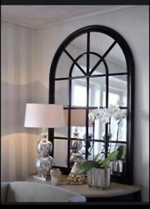 French Hampton Style Gallery Arch Wall  Mirror Provincial BLACK 130x70CM