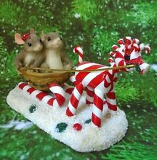 Fitz & Floyd Charming Tails Two Mice Sleigh Ride Sweeties Figurine 1999