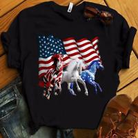 Patriotic US Flag 4th Of July Horse Lovers Men Women T Shirt Cotton S-5XL Black