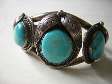 VINTAGE OLD PAWN NAVAJO Turquoise and Silver Bracelet