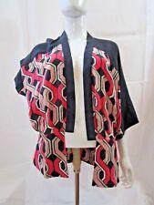 Trina Turk Silk Geomertic Open Jacket Pink, Black, White Size s NWT