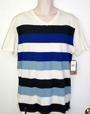 Company 81 Men's Size XL Ivory with Several Shades of Blue Stripes Cotton Shirt