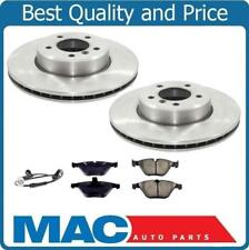Front Disc Brake Rotors Ceramic Pads For 06-10 BMW 550I With Sensor 4Pc Kit