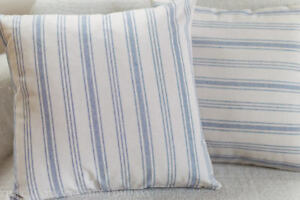 "Nautical Prep Stripe Double Sided Cushion. 17""x17"" Square. Denim Blue Linen-Feel"