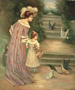 """24""""x 20"""" Oil Painting on Canvas, Mother and Daughter feeding the Birds"""