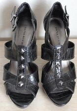 Dana Buchman Black Platform Faux Leather Studded Sandal Heels 6.5 EUC!!