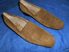 SALVATORE FERRAGAMO SUEDE BROWN LOAFER   SHOES  SIZE 8.5 AA   NICE FROM ITALY.!