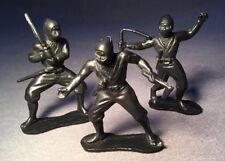 "3 Masters Of Ninja Figures From 1980's  (54mm) 2"" Black Plastic"