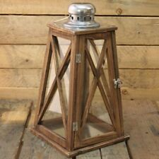 Nautical Tapered Dark Wooden Hurricane Candle Lantern 40Cm X 22Cm