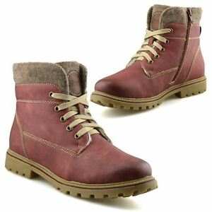 Ladies Womens Zip Up Winter Warm Fur Combat Style Walking Ankle Boots Shoes Size