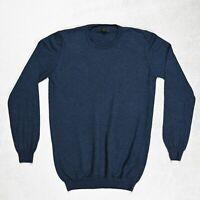 Mens ASOS 100% Merino Wool Knitted Sweater Jumper size MEDIUM Crew Neck NAVY