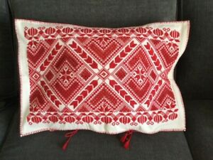 Antique very Rare HARDANGER Embroidered Pillow Case Dowry Quality Norway