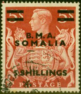 British Occu Somalia 1948 5s on 5s Red SGS20 Good Used