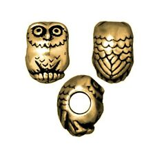 TierraCast Owl Large Hole Bead, Brass Ox Plated Lead-Free Pewter (T320)