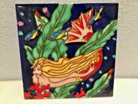 "Mermaid Decorative Ceramic Art Tile 8"" x 8"" Built in Stand"