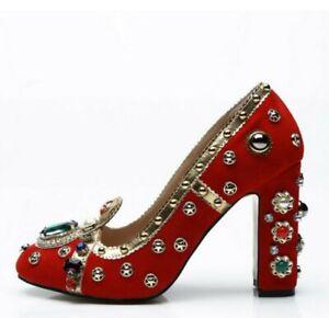 Runway Occident Womens Pointy Toe Block Heel Rhinestone Rivets Shoes Pumps SIBO