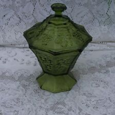 Forest Green Candy Bowl, Pedestal with Lid Grape Cluster, Leaves