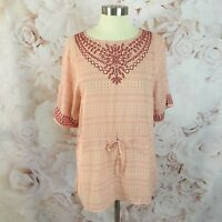 Anthropologie One September Pink Embroidered Printed Tie Waist Tunic Top XS