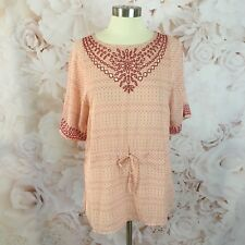 NWOT Anthropologie One September Womens XS Pink Euphemia Peasant Tie Tunic Top