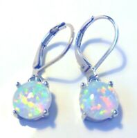 **NEW**CLASSY 925 SILVER GORGEOUS WHITE FIRE OPAL ROUND EARRINGS   8 X 8 mm