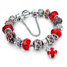 925Women Silver Plated Rhinestone Crystal European Charm Beads Bracelet  Bangle