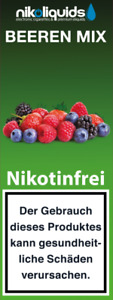 Nikoliquids  10  x 10 ml mit 0 mg Nikotin in versch. Geschmacksrichtungen