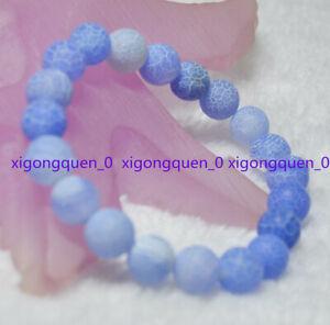 10mm Blue Dream Fire Dragon Veins Agate Round Beads Elastic Bracelet 7.5''