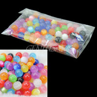Hot Sale 100Pcs Beautiful Resin Gemstone 8mm Mixed Colors Round Ball Beads New