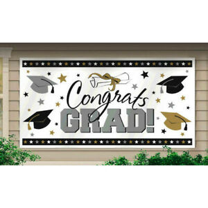 Large Graduation Party Banner Grad Decoration Silver Gold Outdoor Indoor Decor