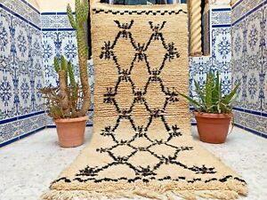 "Vintage Moroccan Rug Handmade Azilal Rug Wool Old Tribal Berber Kilim 5'5"" x2'3"""