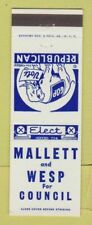 Matchbook Cover - Mallett and Wesp Council Election