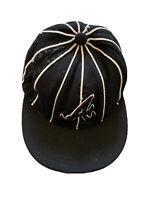 Atlanta Braves MLB Baseball Cap Black White New Era Fitted Hat Size 7 1/4