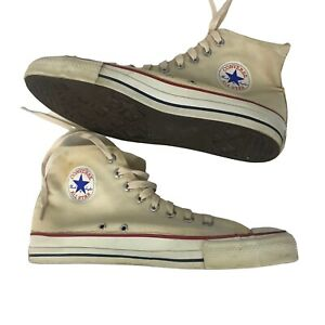 1970s Converse Shoes / OG 70s White Canvas All Star Lace Up Shoes USA / Men's 12