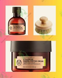 Body Shop Ethiopian Green Coffee Cream Thai Makrut Lime Firming Oil body brush