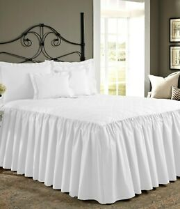 """30"""" Drop Dust Ruffle 1 Piece Quilted Bed Spread 800 TC Egyptian Cotton"""