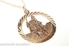 9ct Gold St Christopher Pendant and Chain Gift Boxed Made in UK