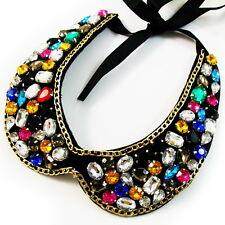 COLLAR NECKLACE handmade WOMEN Colorful Rhinestone Crystal BLACK fashion choker