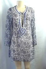 BEACH WEAR BLUE WHITE SEQUINS BEADED NECKLINE COVER UP TOP BLOUSE SHEER MEDIUM