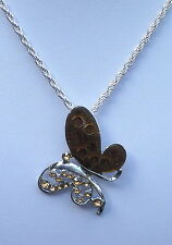 "Contemporary Silver Tone & Toffee Brown Enamel Butterfly Pendant and 24"" chain"