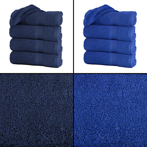 "Large Blue Bath Towels Pack Set 100% Cotton 27""x55"" 500 GSM Highly Absorbent"