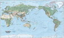 NEW Laminated Wall Maps - World World Physical Large Pacific Centred