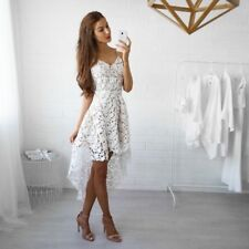 Women Sexy Short Front Long Back Casual Dress Hollow Out Elegant Lace Dress