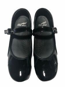Dansko Women's Black Patent Leather Mary Jane Closed Clogs - Size 38/EU 7.5/US