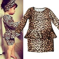 Toddler Kids Baby Girls Long Sleeve T-shirt Tops Leopard Party Tutu Skirt Dress