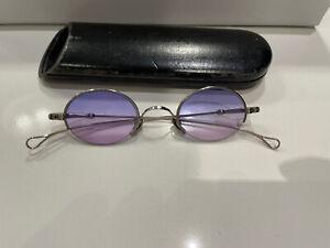 Vintage Lunor Sunglasses Silver Metal Frame & Wooden Case Fade Purple Lens