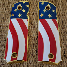 1911 Gun Grips For Kimber / Colt Frames Gold Plated  With Ambi Cut 1911 Screws