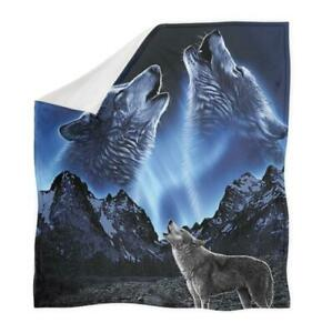 Animal Wolf 3D Print Sherpa Blanket Travel Couch Quilt Cover Throw Bedding