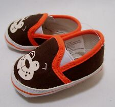 SHOES INFANT NEWBORN BABY MONKEY GRAPHICS BROWN BEIGE & ORANGE TRIM