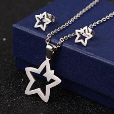 Delizioso completo collana con ciondolo stella + orecchini argento- Acciaio 316L