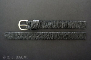 Quality Black Lizard Leather Vintage Style Open-Ended Watch Strap 10mm 12mm 14mm